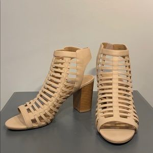 Call it Spring caged heels in a creamy nude.